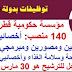 مؤسسة حكومية قطرية تشغل 140 منصب: أخصائيي وتقنيي تغذية وطباخين ومصورين ومبرمجي حاسب آلي وأخصائيي صحة وسلامة الغذاء وأخصائيي علاج طبيعي