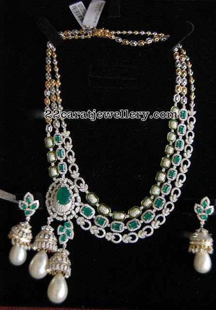 Diamond Emerald Set with Jhumka Pendant