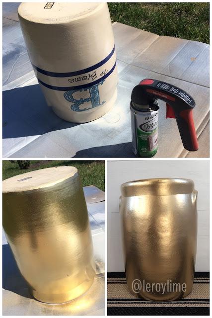 Golden Umbrella Holder - Quick spray paint DIY - LeroyLime
