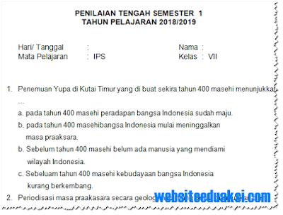 Soal PTS/ UTS IPS Kelas 7 Semester 1 K13 Tahun 2018/2019