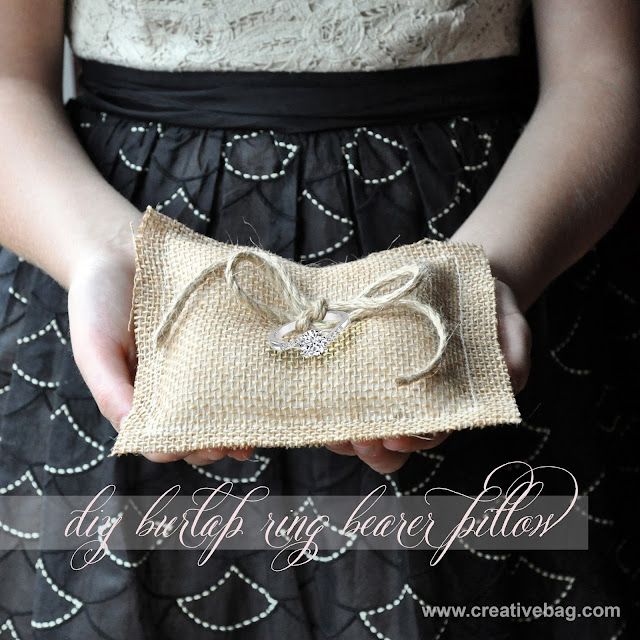 diy burlap ring bear pillow | by Lorrie Everitt for Creative Bag