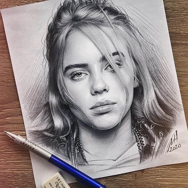 05-Billie Eilish-Michael-Naumets-Pencil-Portraits-www-designstack-co