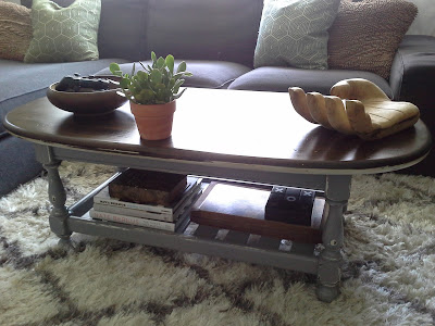 Ethan Allen coffee table grey white jacobean stain