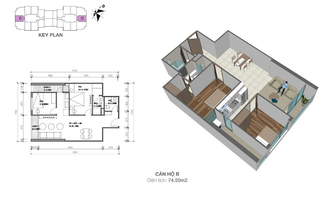 Căn hộ B có diện tích 74m2 với thiết kế 02 phòng ngủ