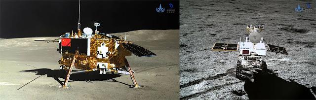 Foto da sonda Chang'e 4 (à esquerda) feita pelo explorador Yutu 2, que por sua vez está à direita, e foi fotografado pelo pousador Chang'e 4
