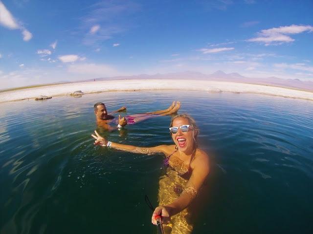 Di e Ricardo muito felizes na Laguna Cejar