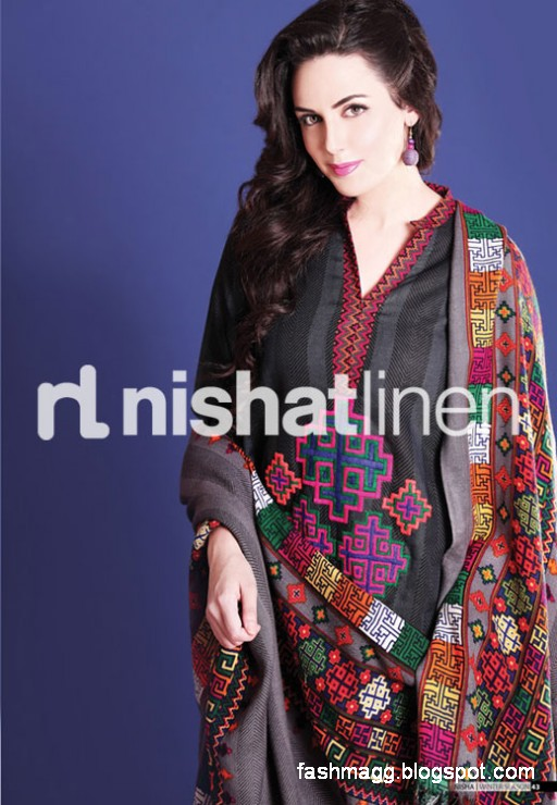 Fashion Amp Fok Nishat Linen Winter Dresses Collection 2013