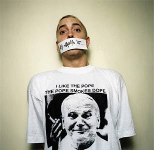 As worn by Eminem - I Like The Pope The Pope Smokes Dope shirt.  PYGOD.COM