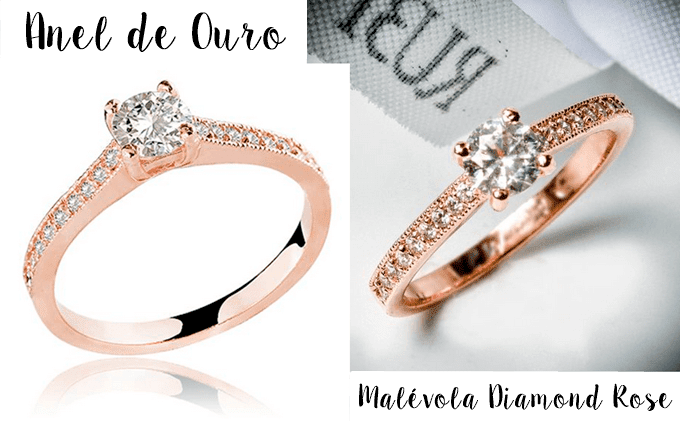 Anel de Ouro Malévola Diamond Rose2