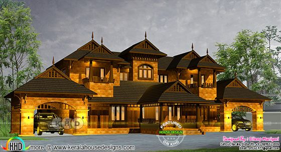 Rendering of a traditional Kerala home in Colonial look