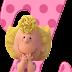 Abecedario Rosado Peanuts, Charlie Brown. Pink Alphabet Peanuts.