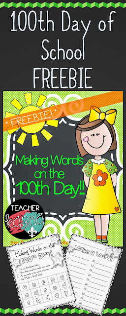 100th Day of School FREEBIE - Making Words on the 100th Day - Reading Resource by TeacherKarma.com