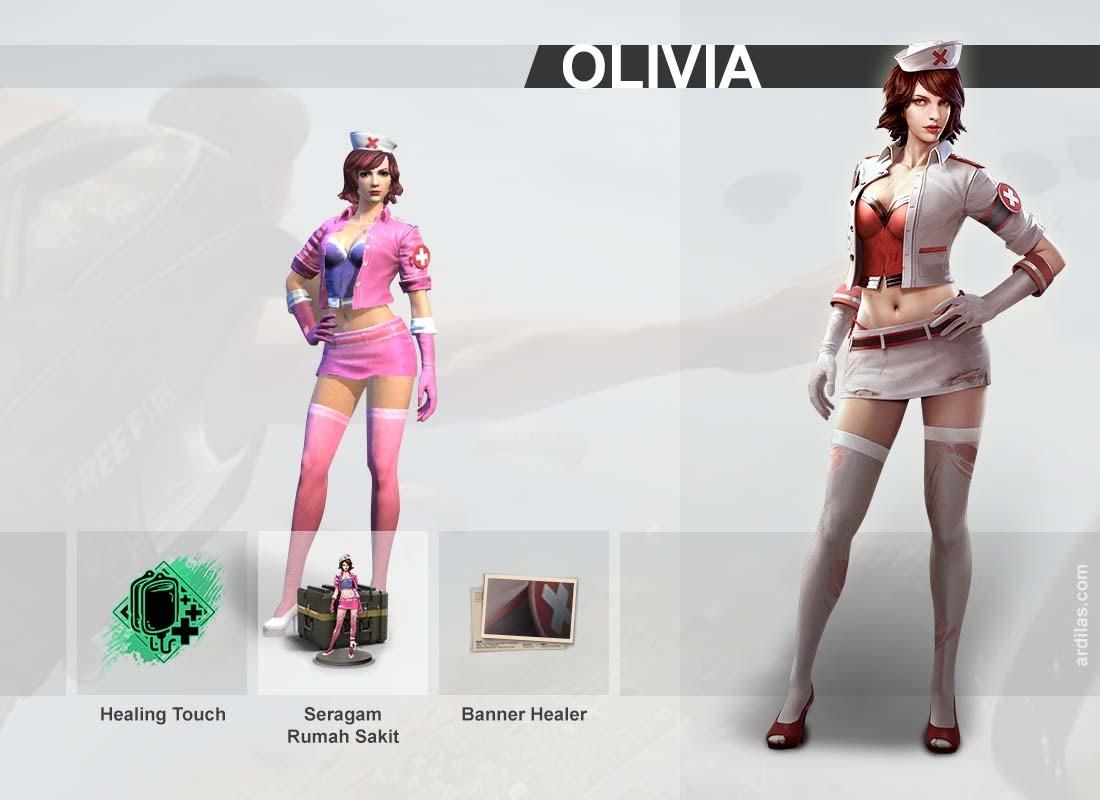 Kemampuan Healing Touch, Seragam Rumah Sakit, Banner Healer First Aid - Olivia - Karakter di Game Free Fire