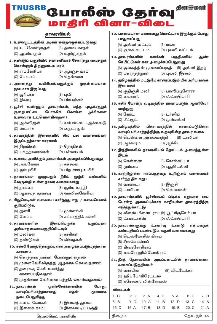 TN Police Dinamalar 2018 Download PDF