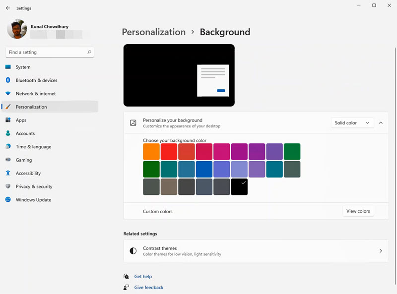 A quick look to Windows 11 Settings app - Personalization - Background