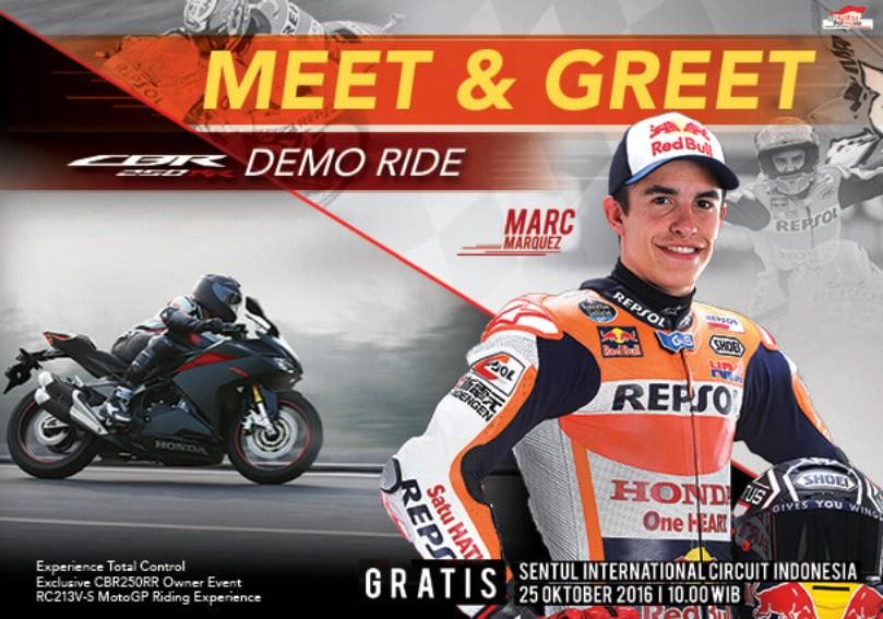 Marquez sudah tiba di Indonesia untuk demo ride All New Honda CBR250RR . . Pedrosa tak terlihat