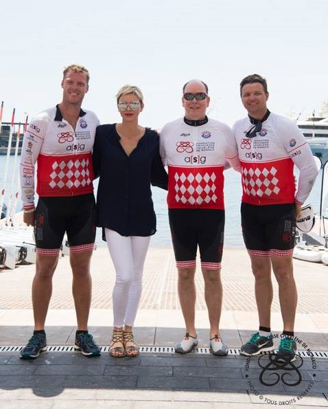Prince Albert and Princess Charlene attended Riviera Water Bike Challenge at Monaco Yacht Club. Princess Charlene a injury in her wrist.