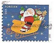 Selo Papai Noel no trenó