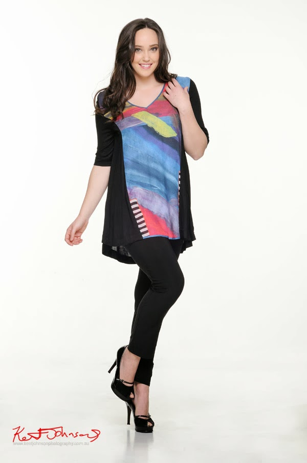 Kathleen Berney Look Book SS 2013 black smock top with bold watercolour stroke panel. Photo by Kent Johnson.