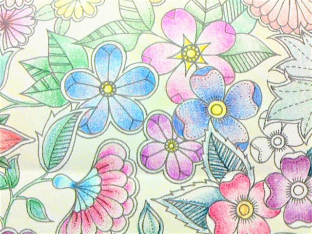 ひみつの花園サンプルページをファーバー赤缶水彩色鉛筆で3