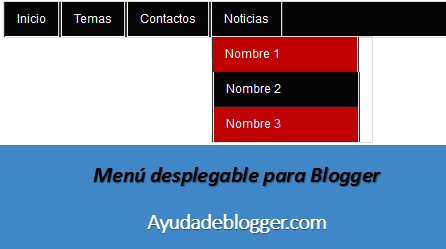 Crear un menú desplegable en Blogger