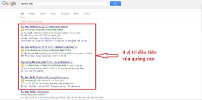 quảng cáo của bạn sẽ nằm trong top đầu nếu bạn có đầu tư vào google adwords