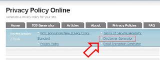 cara membuat terms of service atau disclaimer untuk blog