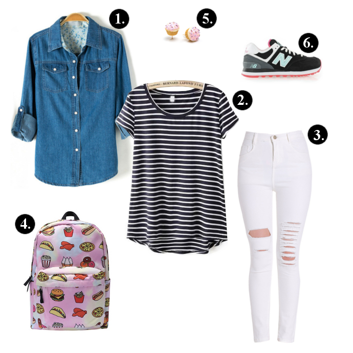 Back to school outfits, Back to school outfit ideas, SheIn Denim Shirt, SheIn Stripe Shirt, SheIn Pants, New Balance Sneakers, GoJane Earrings, backpacks, sneakers