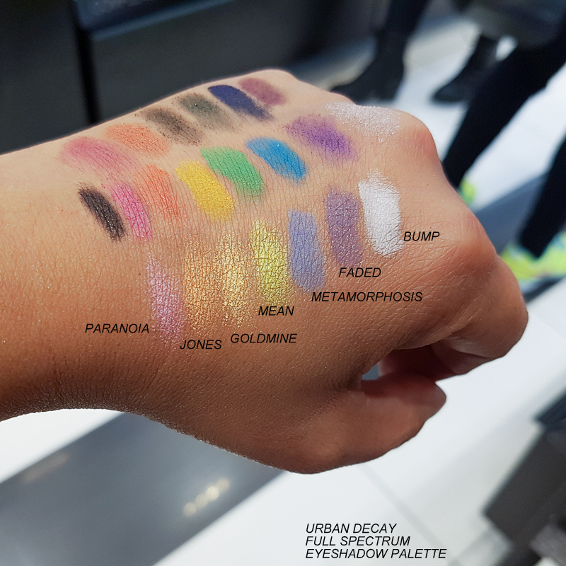 Urban Decay Full Spectrum Eyeshadow Palette - Swatches - Paranoia Jones Goldmine Mean Metamorphosis Faded Bump