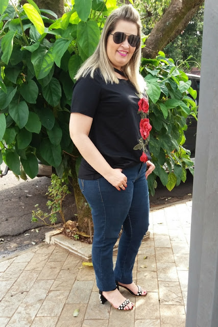 Embroidered Floral Plus Size Casual Long T-Shirt - Ebony 2xl
