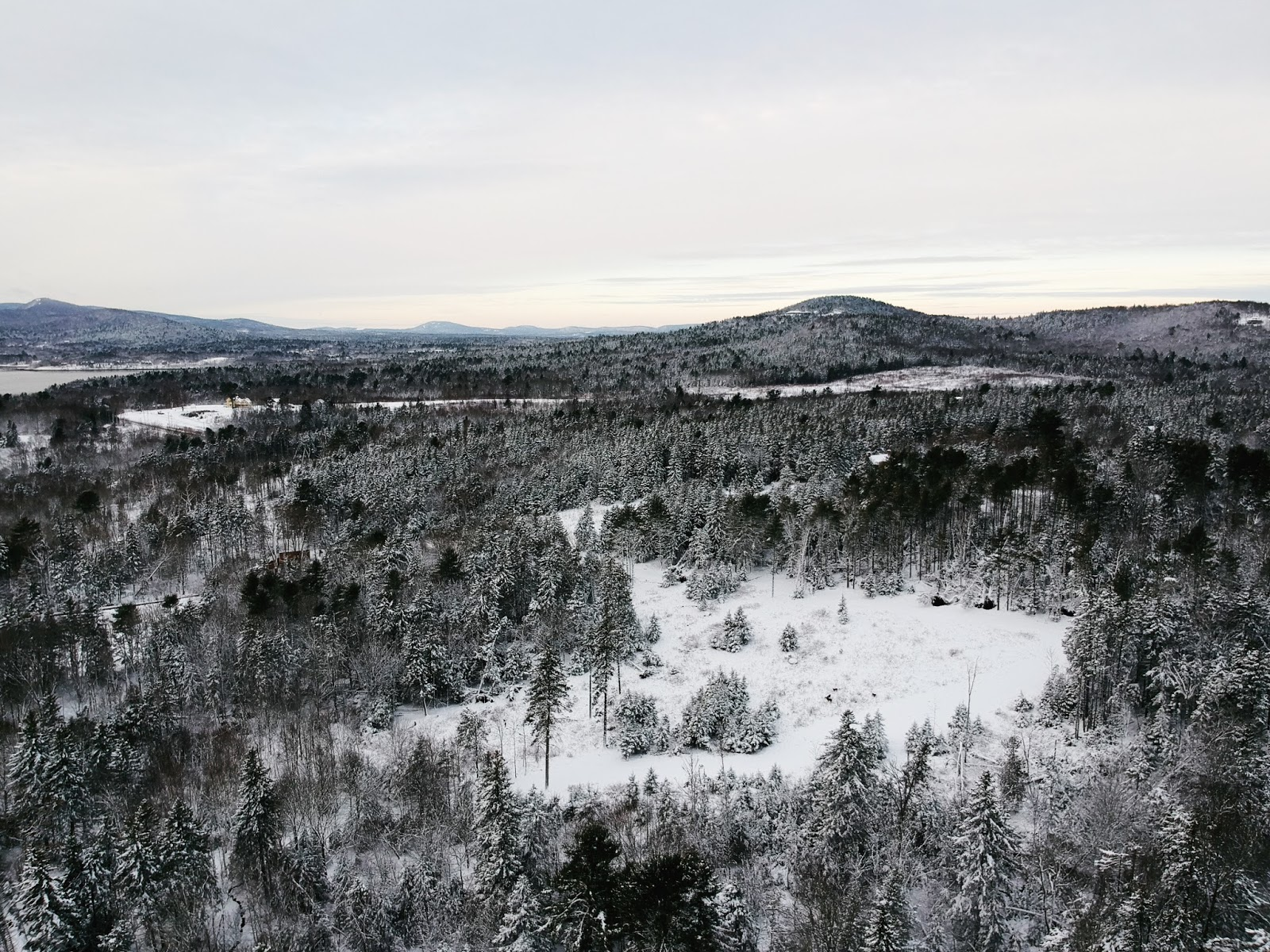 drone view midcoast maine