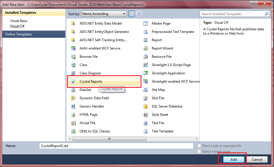 Crystal reports example/sample in asp net - ASP NET,C# NET,VB NET