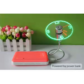 USB fan connected to power bank