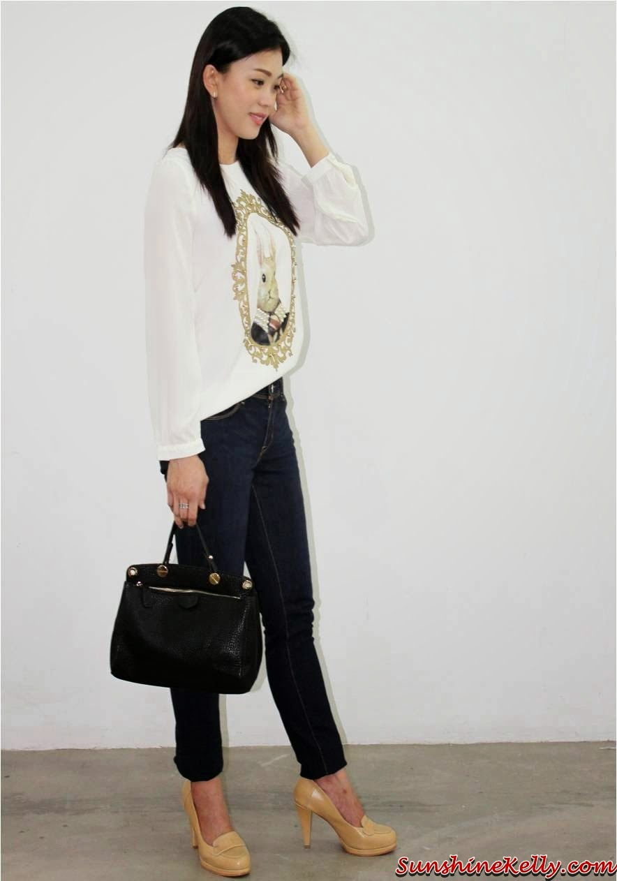 Milktee Online Fashion Boutique, Spring 2014, online shopping, pastel knit top, wash off jeans, nude color heels, pastel purple tote bag, zara inspired blazer, navy blue jeans, white soft clutch, bunny portrait blouse, cat face tee, stripe tote, grained shoulder bag