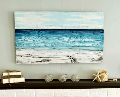 Painted old wood ocean wall art diy or shop completely for Coastal wall decor ideas