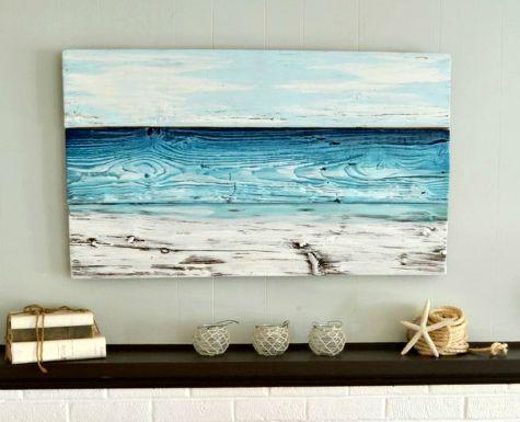 Painted Old Wood Ocean Wall Art | DIY or Shop - Coastal ...