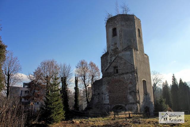 ruiny kościoła ewangelickiego w Pobiednej