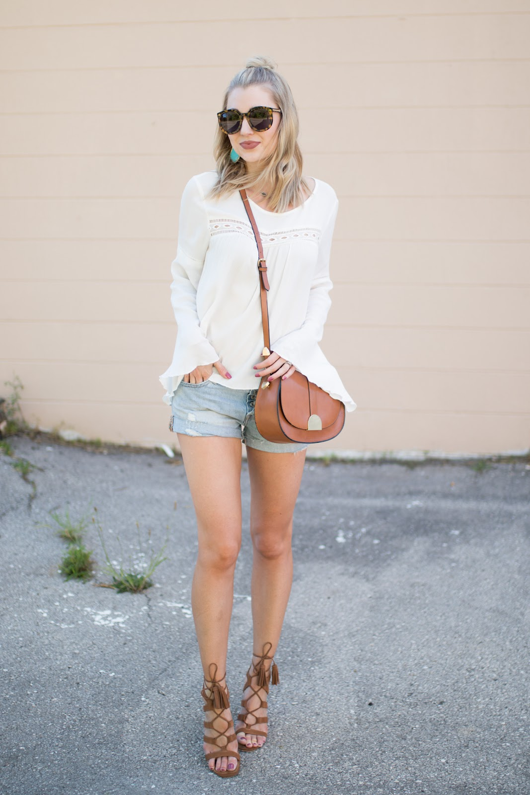 White top + jean shorts