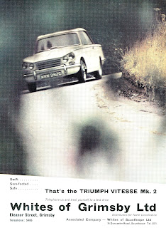 Triumph Vitesse Mk2 advert by Whites of Grimsby Ltd