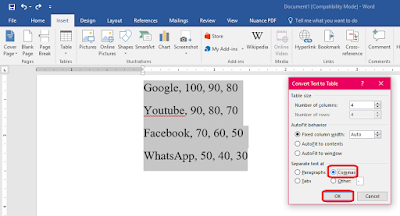 How to Convert Text to Table in MS Word (Easy Steps),Convert plain text into table in Microsoft Word 2003,2007,2010,2016,text table converter,free converter,how to convert table to text,convert text to table in word,tab converter,comma converter,convert paragraph into table,plain text to table,convert text to column,convert text to row,table converter,text converter,how to make text to table,how to do,text to table in ms word,ms word text to table converter Convert plain text into table in Microsoft Word 2003, 2007, 2010, 2016  Click here for more detail..