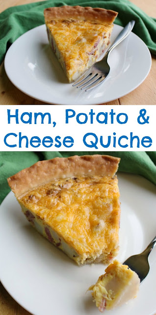 Enjoy a slice of ham, potato and cheese quiche any time of day, it's always good. Your whole family is sure to love it and you can customize it easily too!