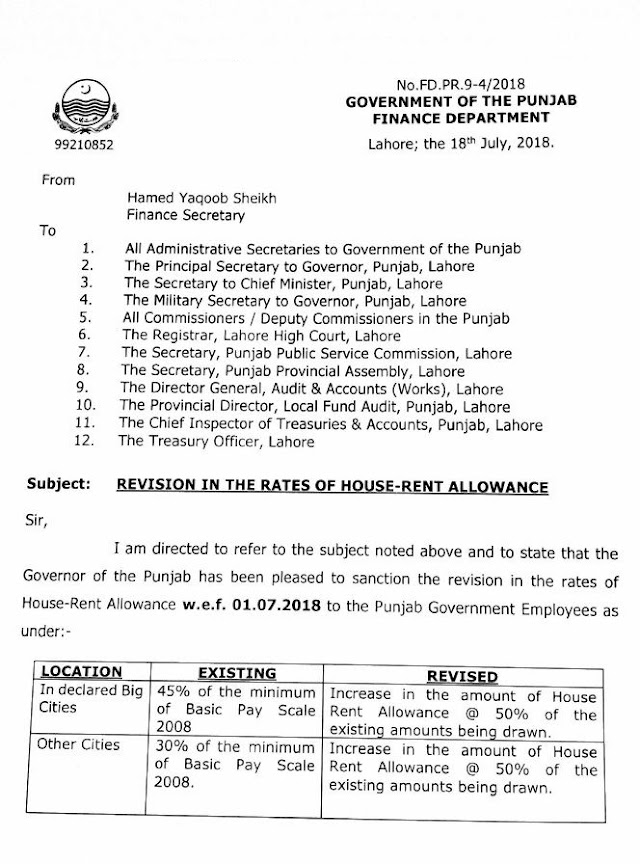 NOTIFICATION REGARDING REVISION OF THE RATES OF HOUSE RENT ALLOWANCE