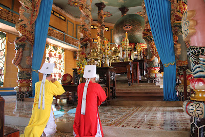 Divine eye on the altar of the temple of Tay Ninh