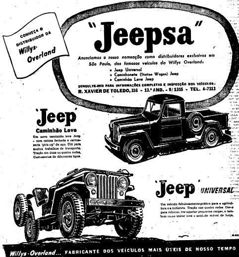 Propaganda da Jeep veiculado em 1948 promovendo sua linha de automóveis para o campo e cidade
