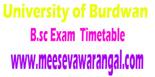 University of Burdwan B.Sc (Statistics) General Part II 2016 Practical Exam Time Table