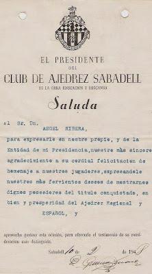 Felicitación del presidente del Club Ajedrez Sabadell 1948