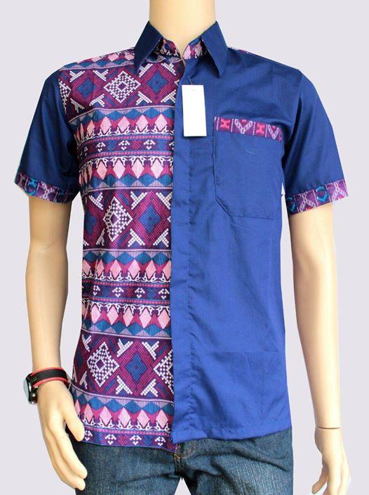 Desain Kemeja Batik Pria Kombinasi Kain Polos Lengan Panjang Dan