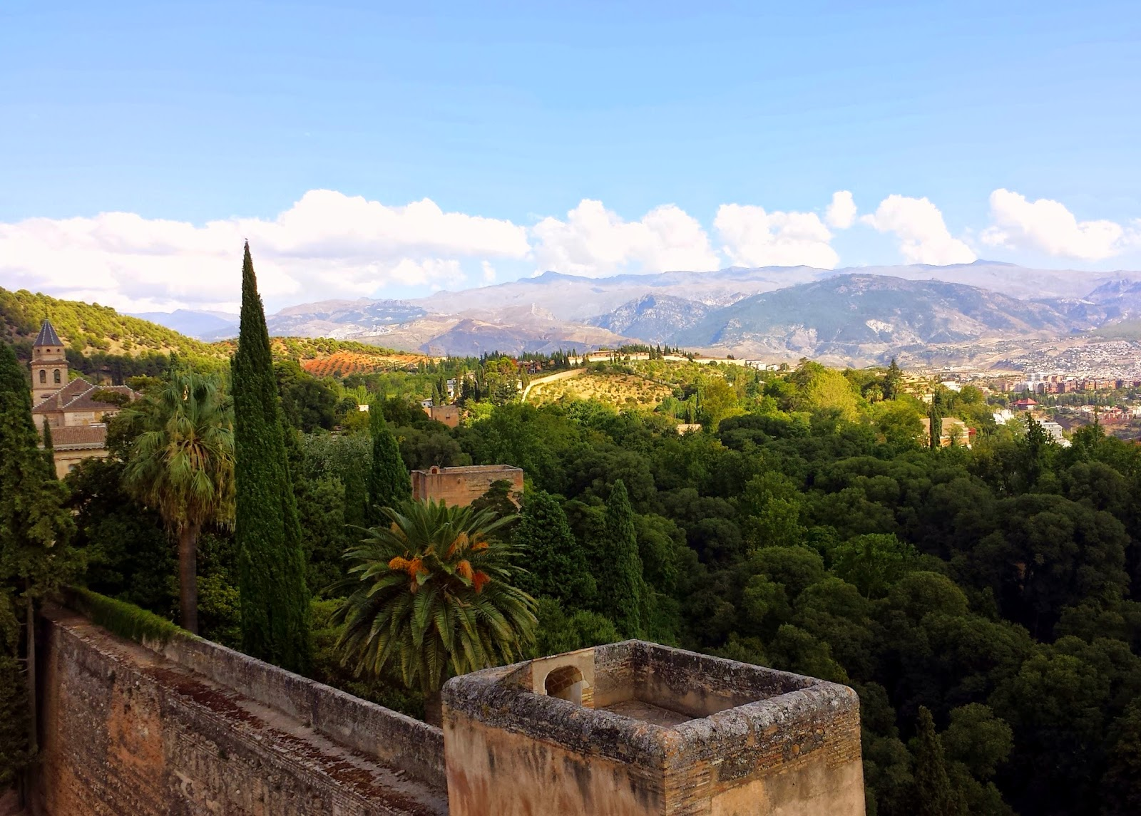 View over Granada and Sierra Nevada Mountains from The Alhambra  |  Postcard from Andalucía: Granada and La Alhambra on afeathery*nest  |  http://afeatherynest.com