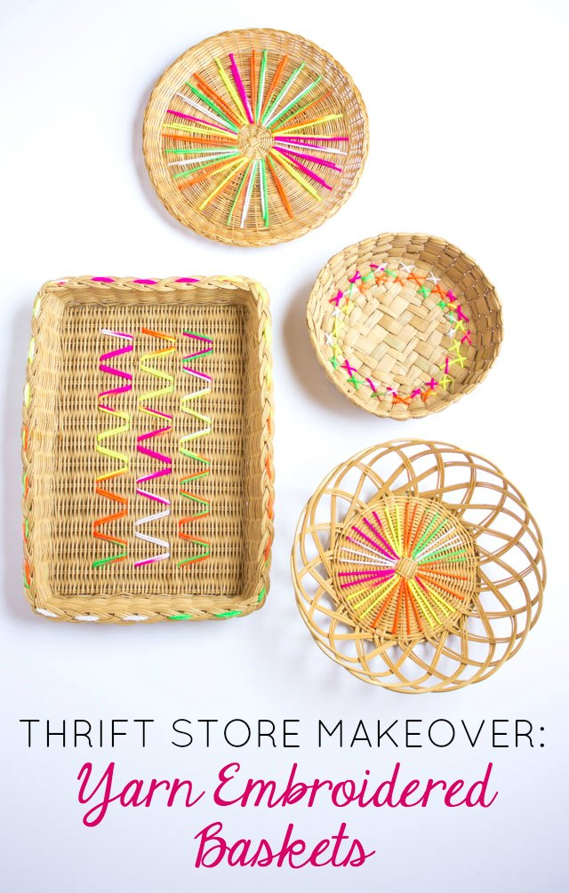 Give thrift store baskets a makeover with colorful yarn!