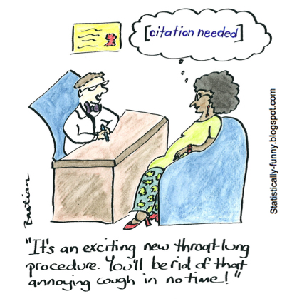 Cartoon illustrating the need for evidence of effectiveness